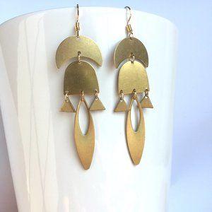 Golden Brass geometric sculpture Earrings